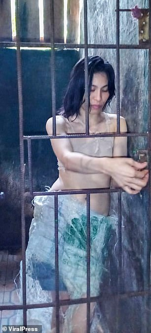 Mentally ill woman, 29, has been locked in a cage by her relatives in the Philippines for FIVE YEARS