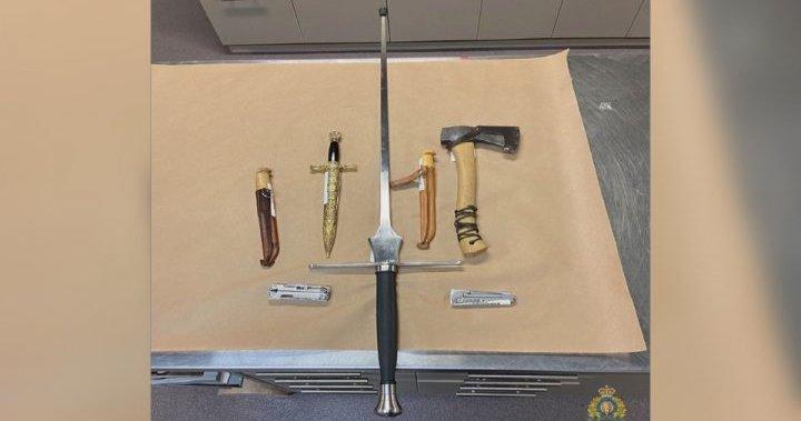 Man arrested after brandishing medieval sword in downtown Kelowna, B.C., police say – Okanagan